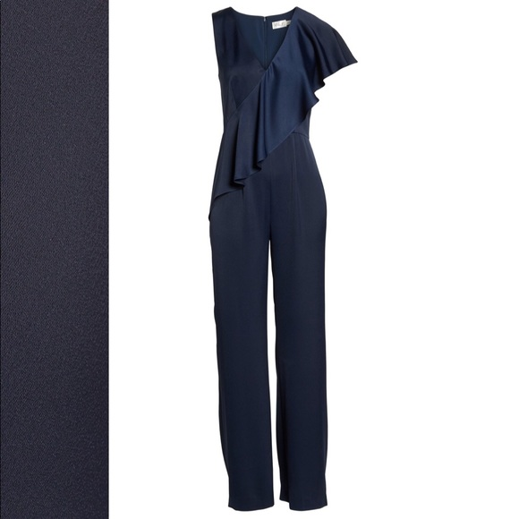 eb938499df08 Eliza J Pants - NWOT Eliza J navy ruffle front flare leg jumpsuit